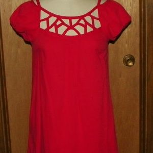 Maeve Red Cap Sleeve Cotton Dress